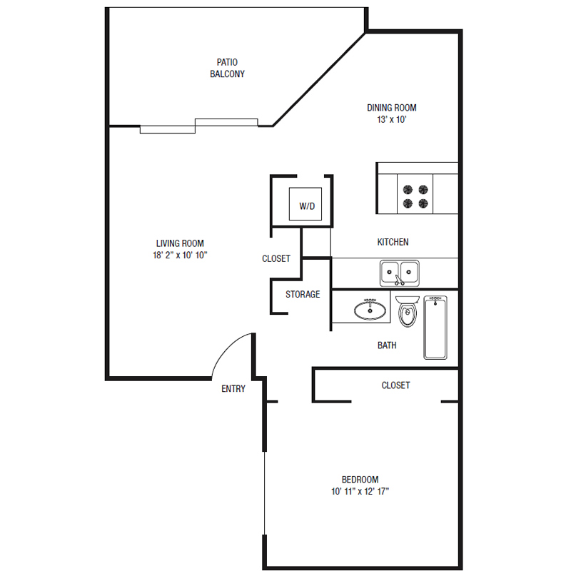 A1-U - One Bedroom / One Bath - 680 Sq. Ft.*