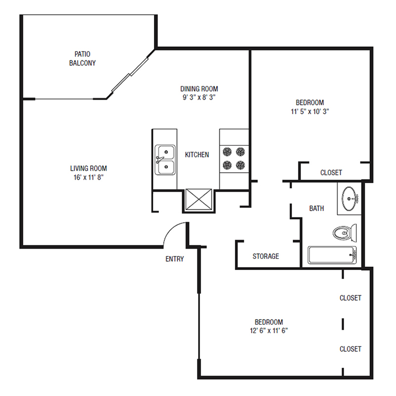 B1 - Two Bedroom / One Bath - 851 Sq. Ft.*