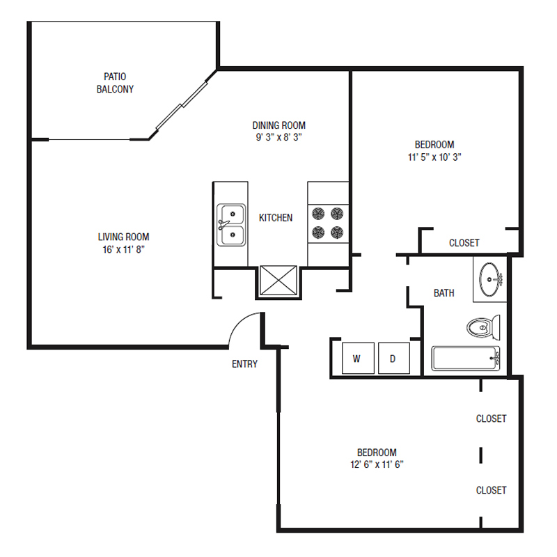 B1-U - Two Bedroom / Two Bath - 851 Sq. Ft.*