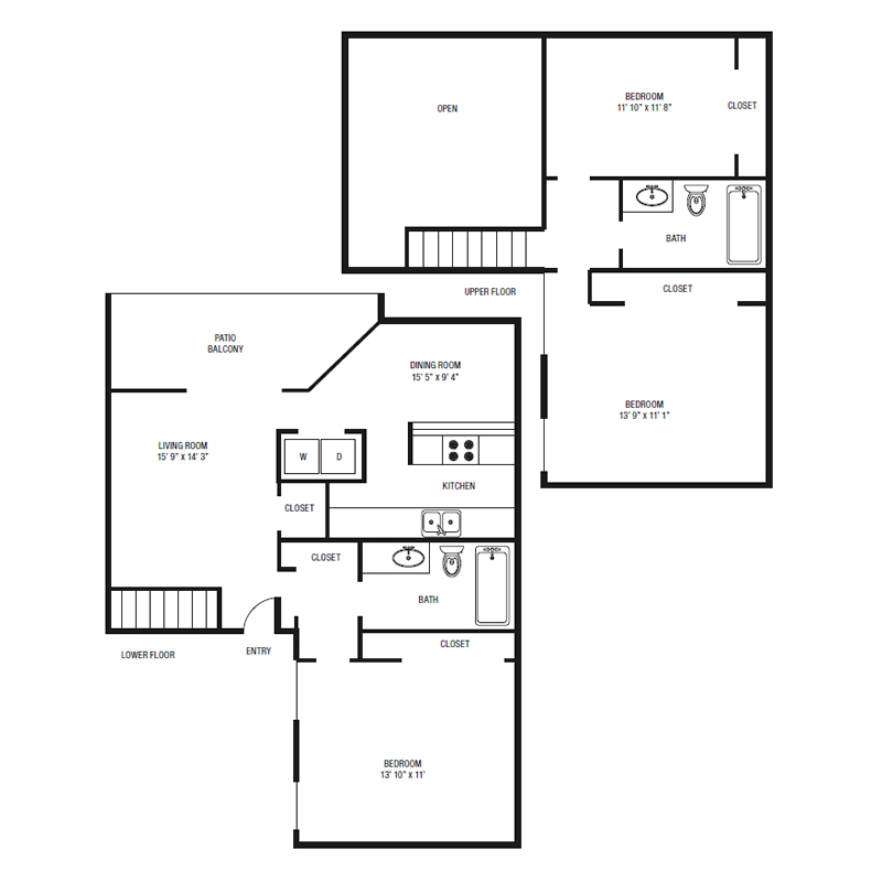B3 - Three Bedroom / Two Bath - 1,247 Sq. Ft.*